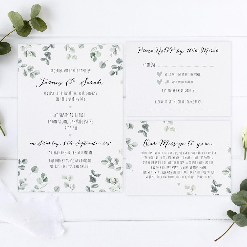 'Eucalyptus' Sleeve Invite Sample