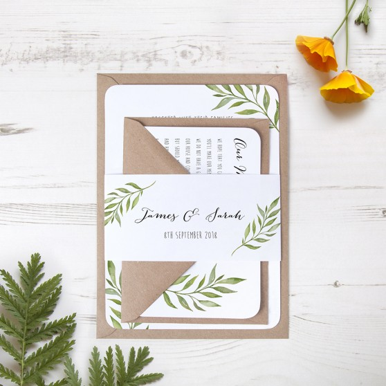 'Green Leaf' Sleeve Invite