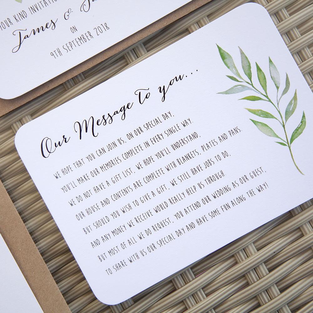 'Green Leaf' Sleeve Invite