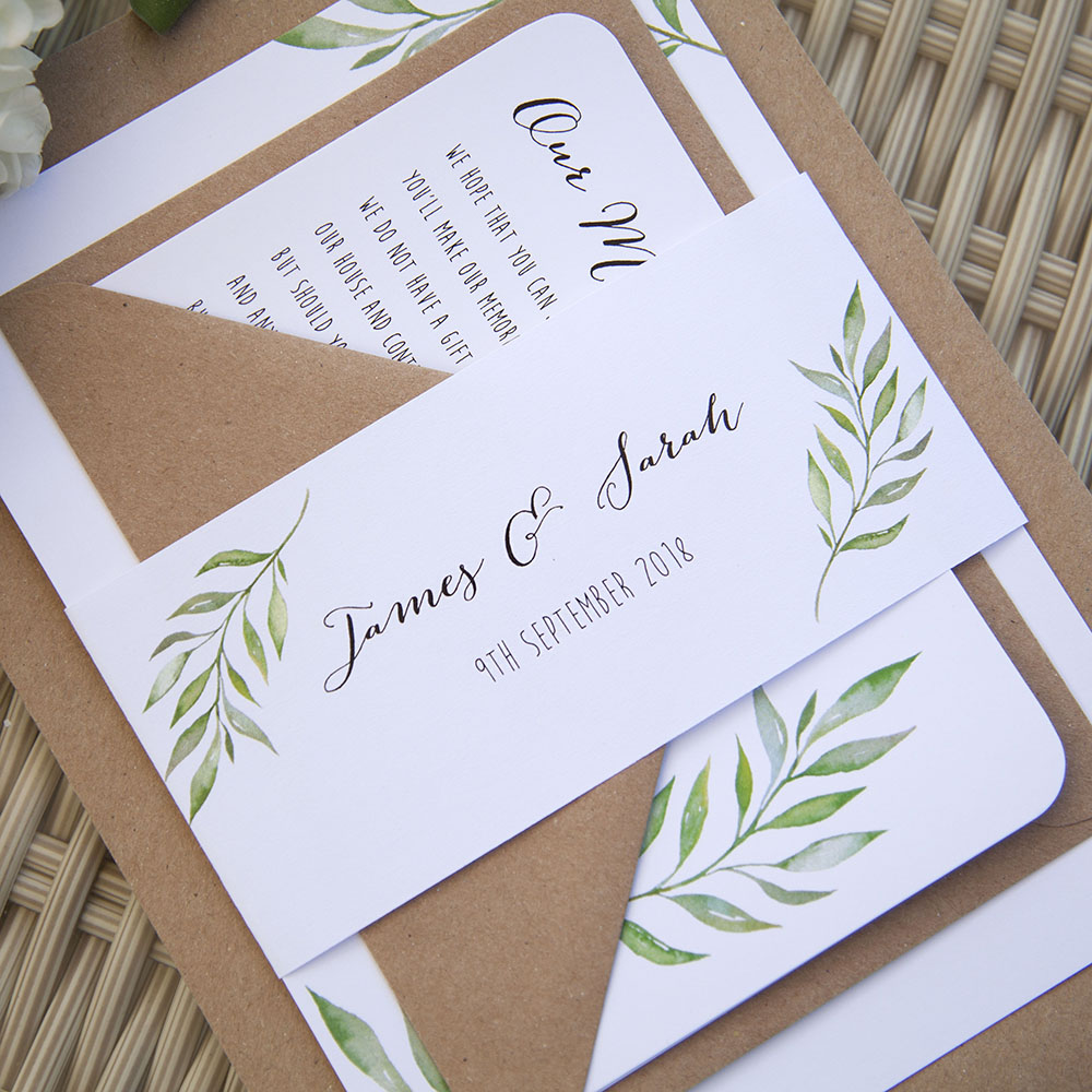 'Green Leaf' Sleeve Invite Sample
