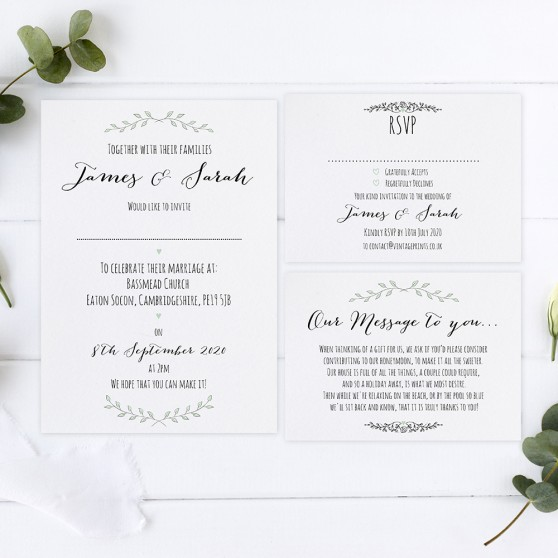 'Green Plant' Sleeve Invite