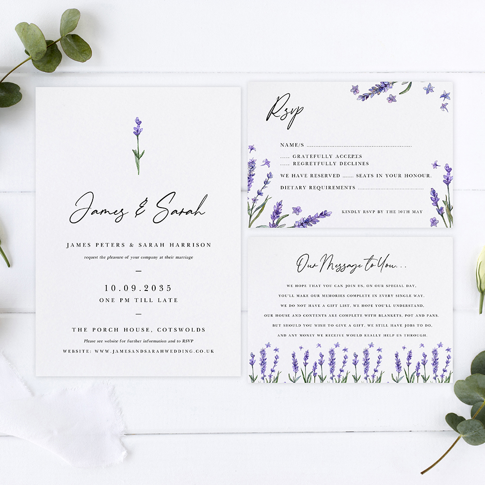 'Lavender' Sleeve Invite Sample