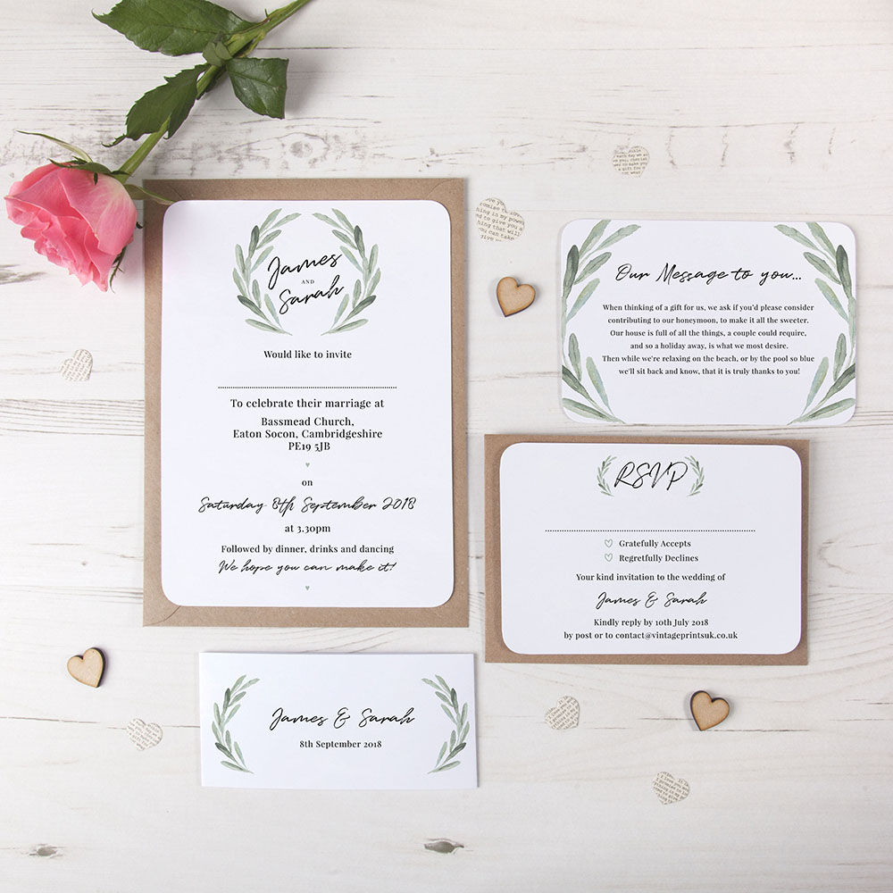 'Olive' Sleeve Invite Sample