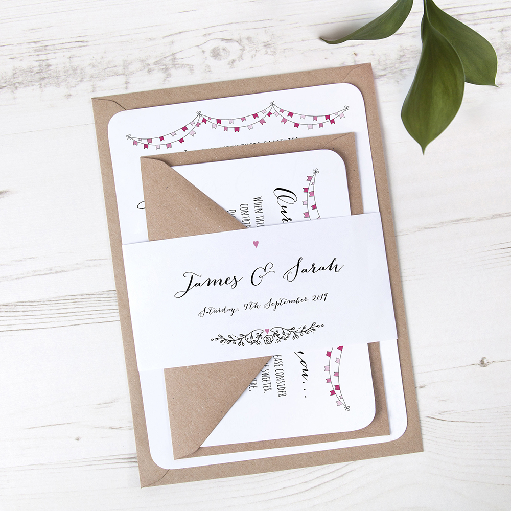 'Pink Flag Bunting' Sleeve Invite