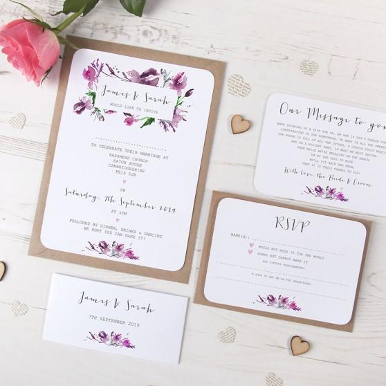 'Pink Iris' Sleeve Invite