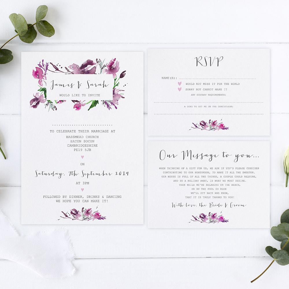 'Pink Iris' Sleeve Invite Sample