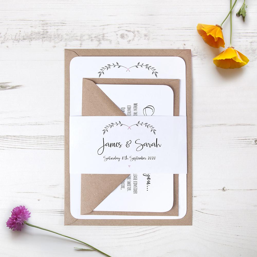 'Pink Ivy Design' Sleeve Invite Sample