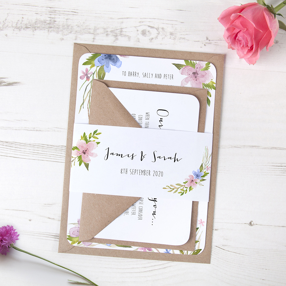 'Pretty in Blue & Pink' Sleeve Invite Sample