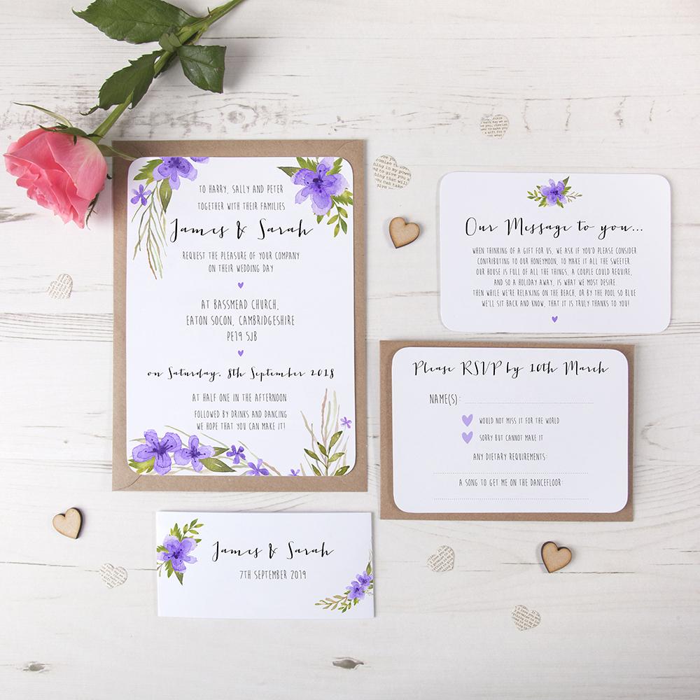 'Pretty in Purple' Sleeve Invite Sample