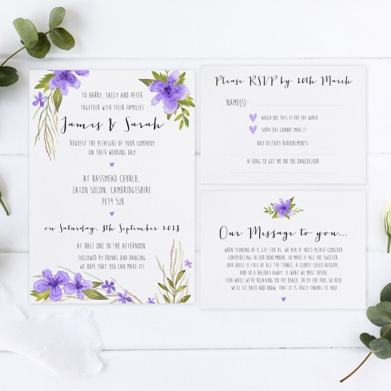 'Pretty in Purple' Sleeve Invite