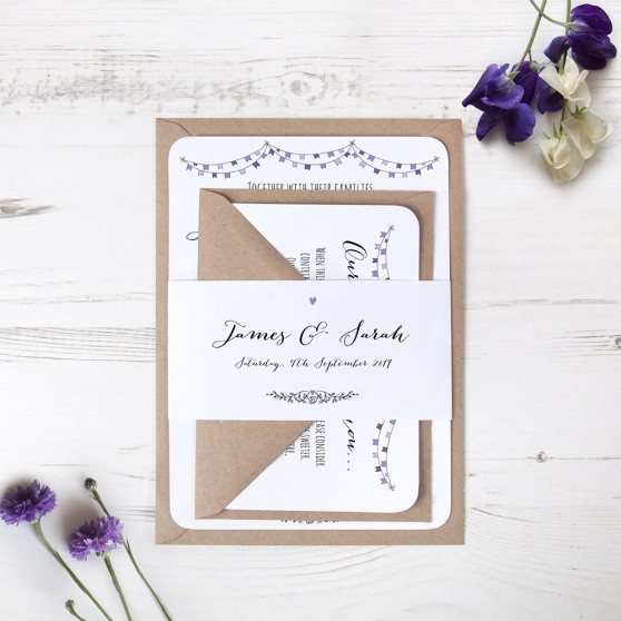 'Purple Flag Bunting' Sleeve Invite