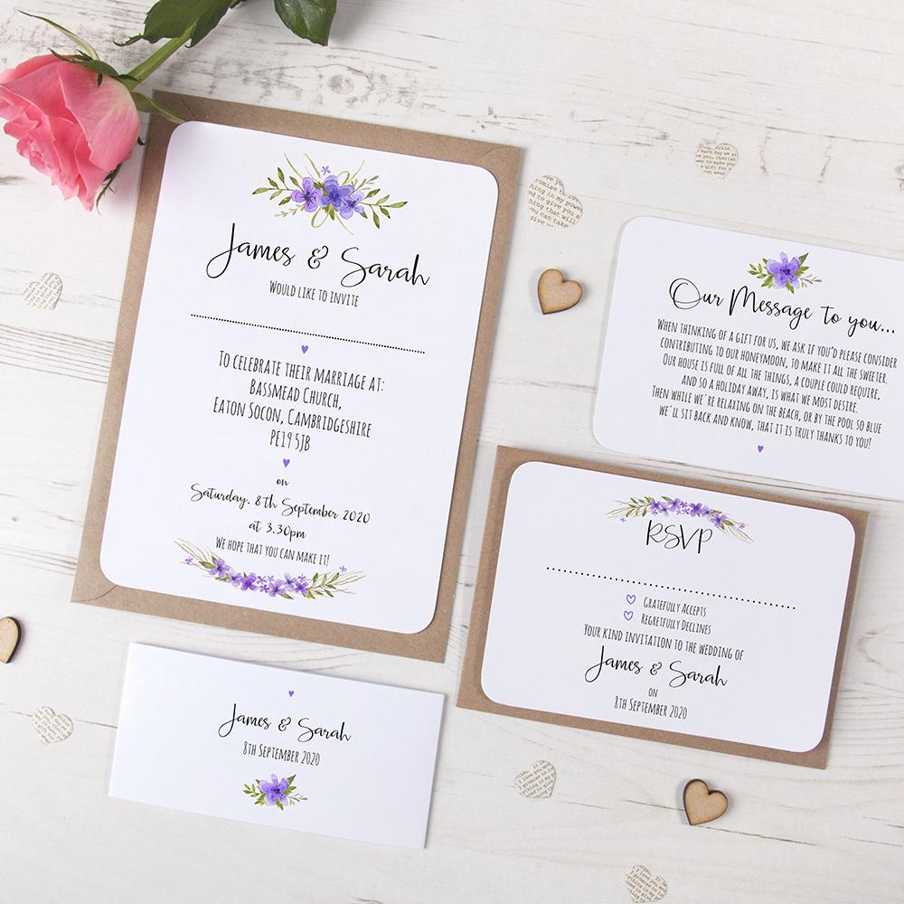 'Purple Multi Floral Watercolour' Sleeve Invite Sample