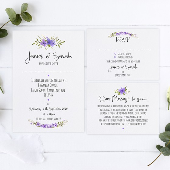 'Purple Multi Floral Watercolour' Sleeve Invite