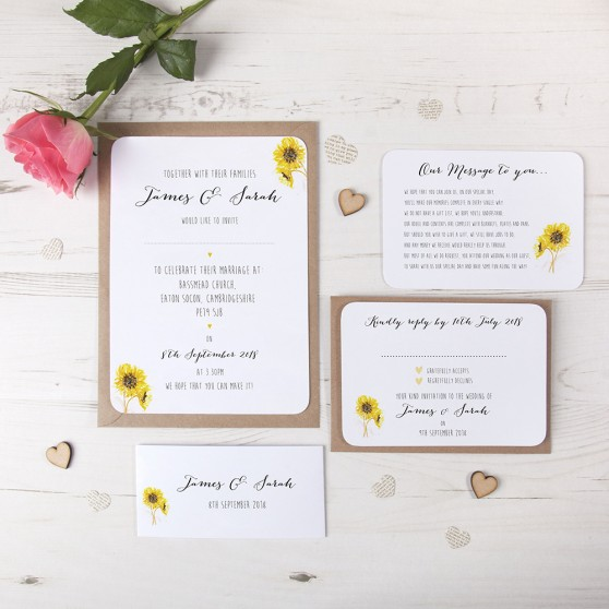 'Sunflower' Sleeve Invite Sample