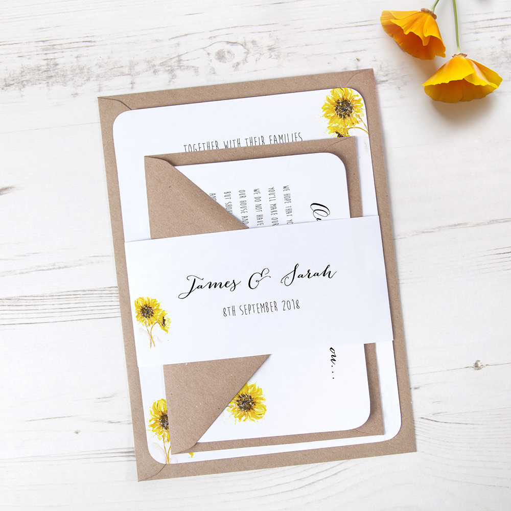 'Sunflower' Sleeve Invite Sample