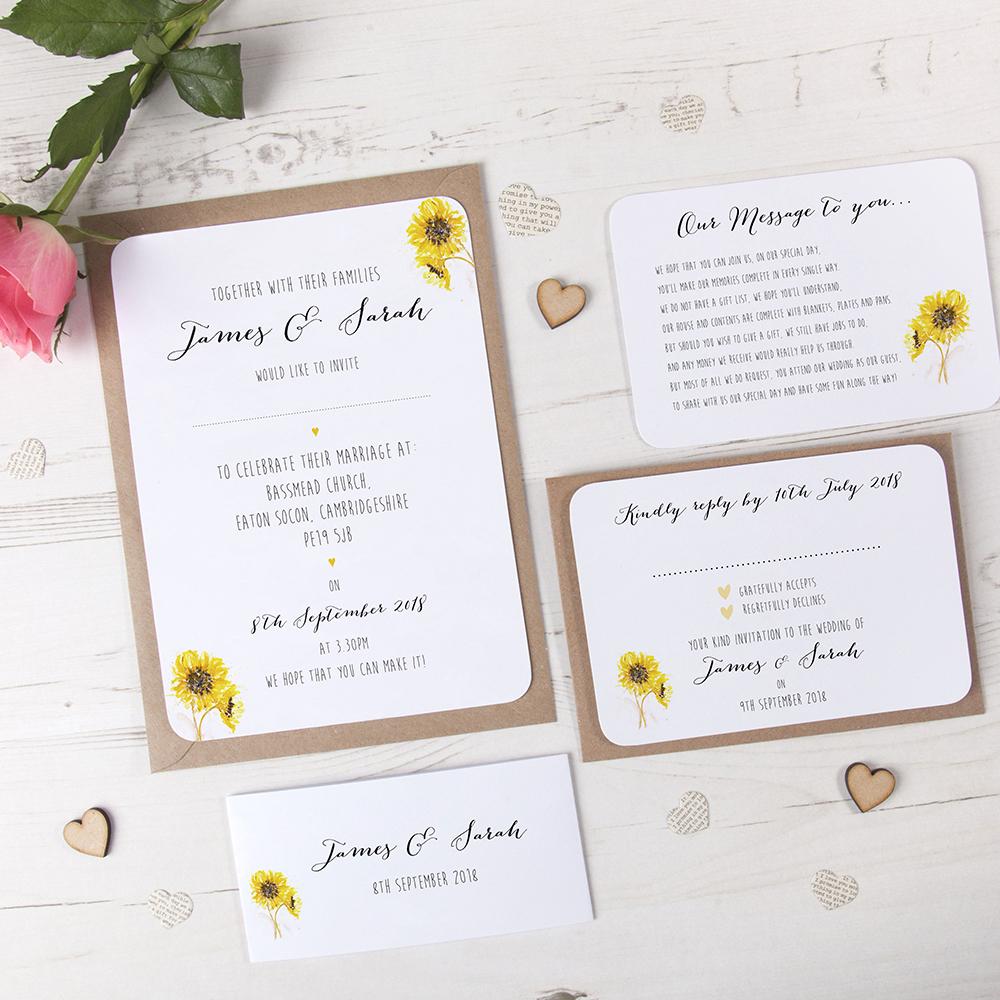 'Sunflower' Sleeve Invite