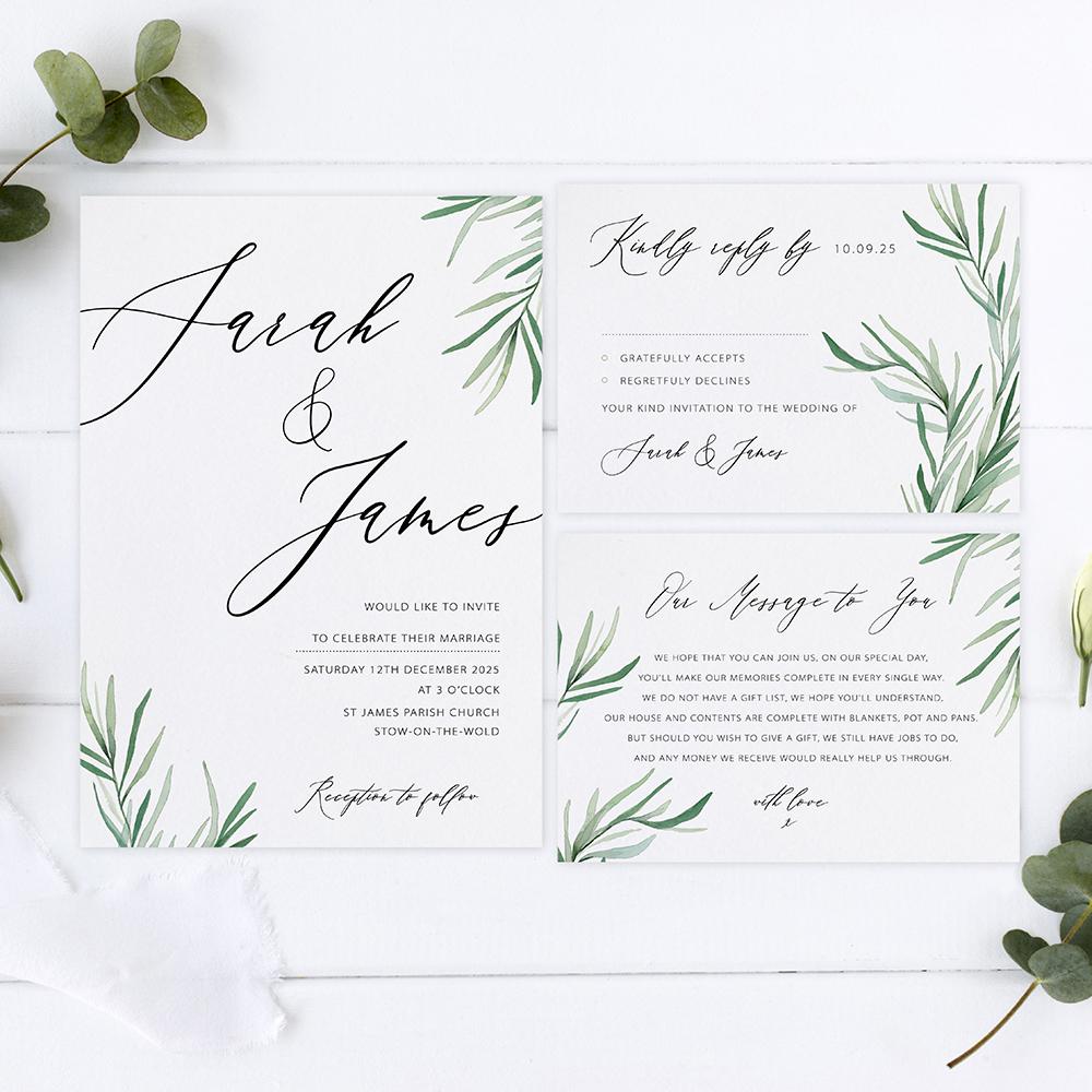 'Willow Eucalyptus' Sleeve Invite Sample