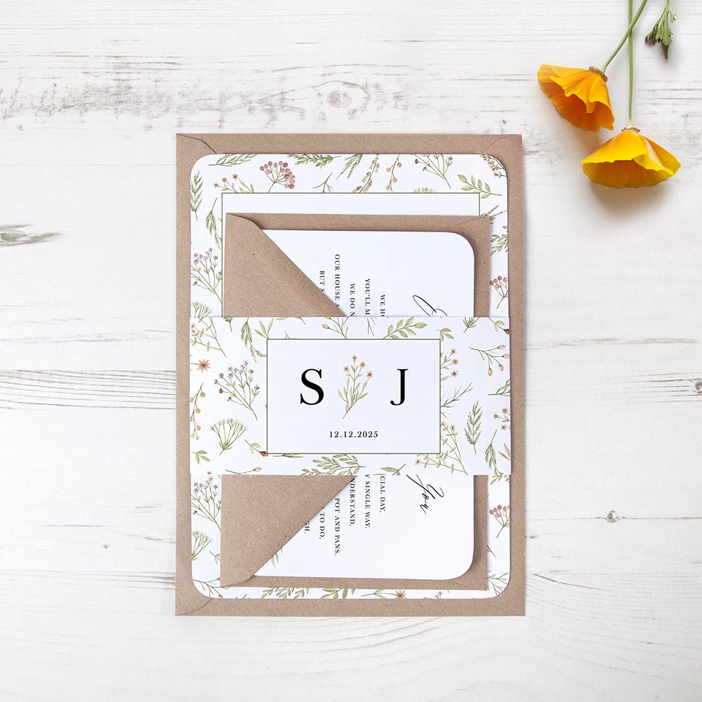 'Woodland Floral' Sleeve Invite Sample