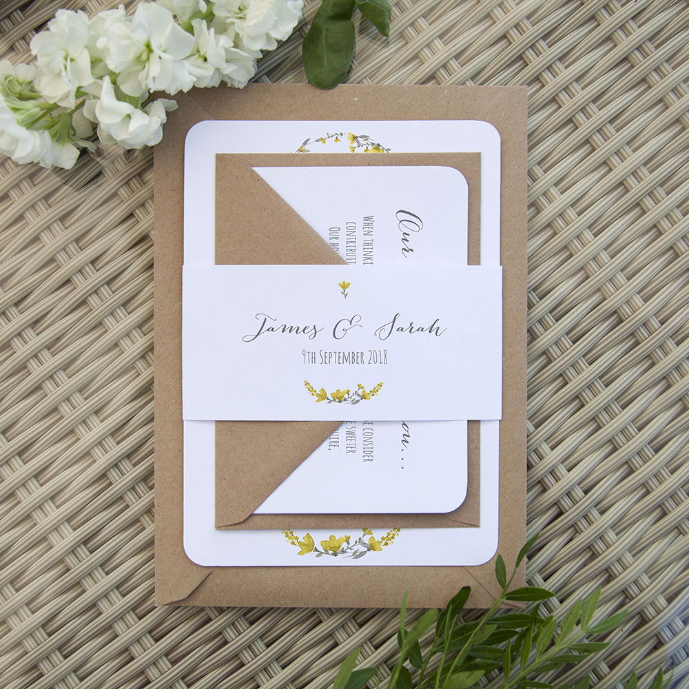 'Yellow Floral Watercolour' Sleeve Invite