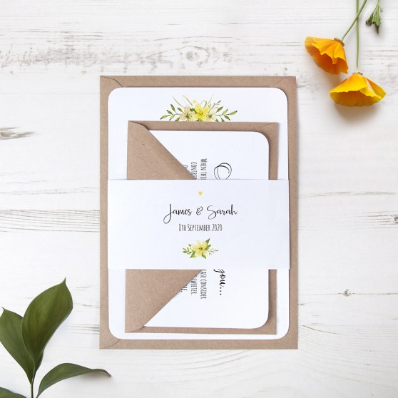 'Yellow Multi Floral Watercolour' Sleeve Invite Sample