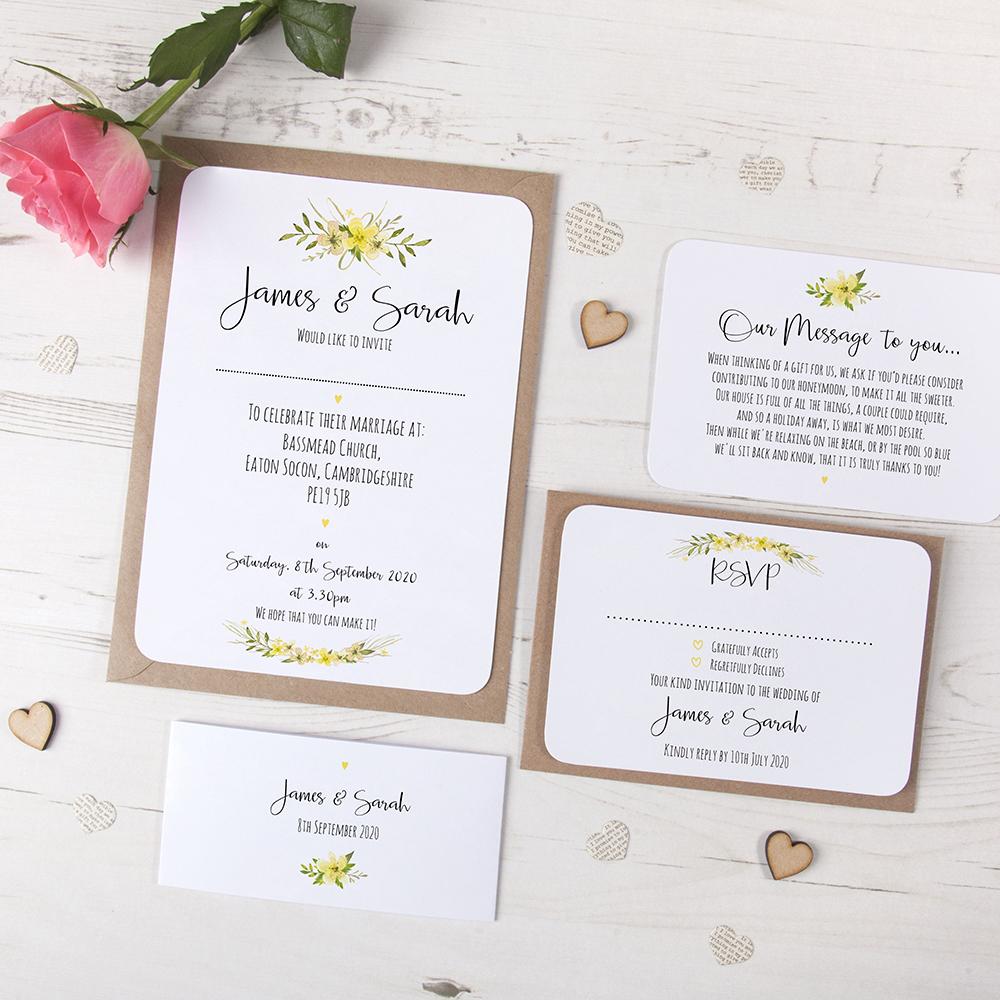 'Yellow Multi Floral Watercolour' Sleeve Invite Sample