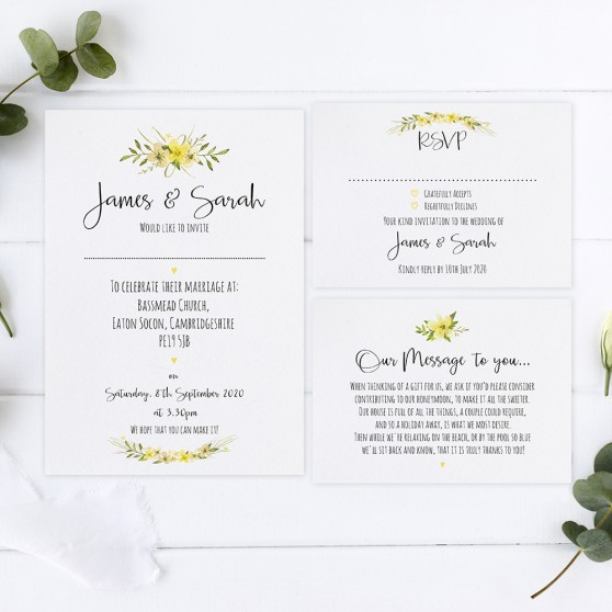 'Yellow Multi Floral Watercolour' Sleeve Invite