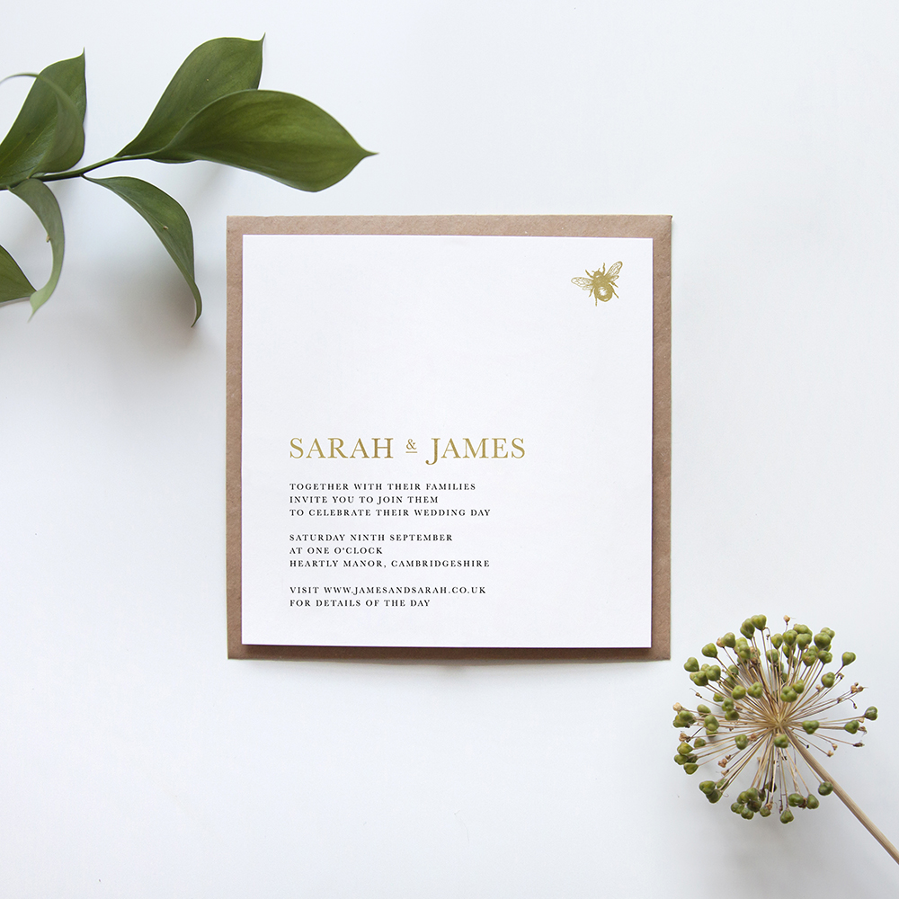 'Bumble Bee' Square Foil Invite