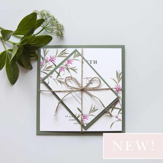 'Pink Botanical' Square Invitation