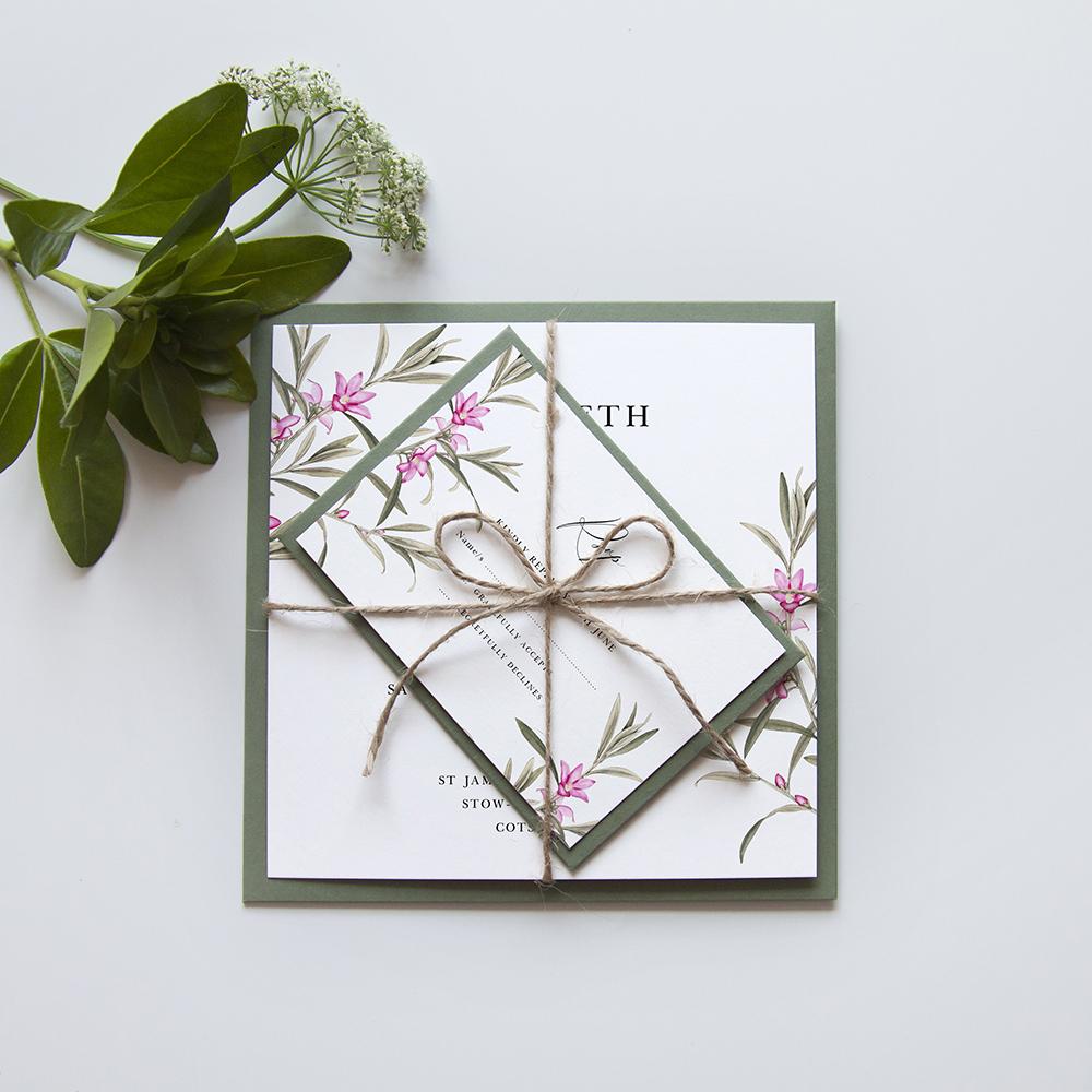 'Pink Botanical' Square Invitation Sample
