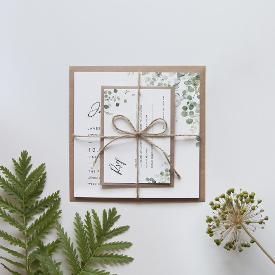 'Classic Eucalyptus' Square Invite Sample