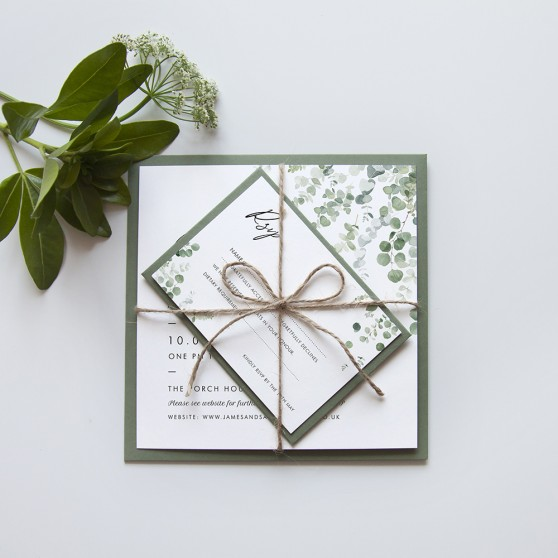 'Classic Eucalyptus' Square Invite Sample