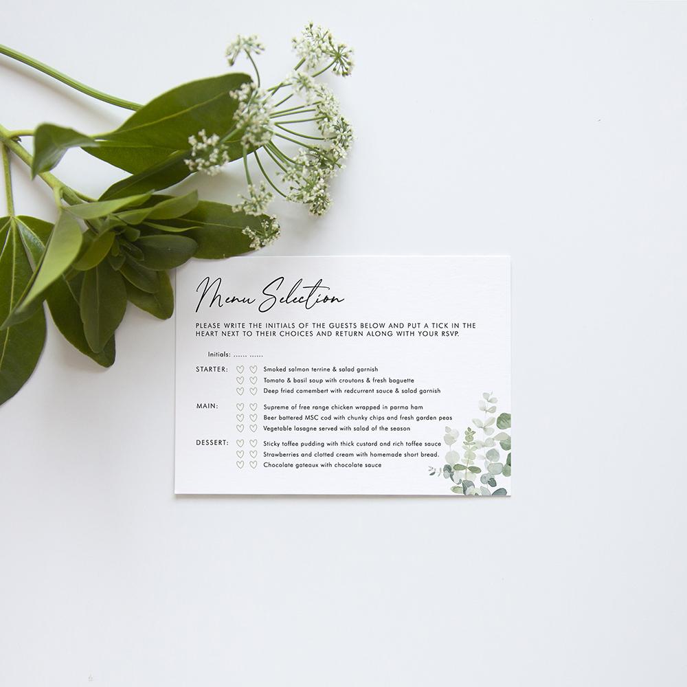 'Classic Eucalyptus' Square Invite