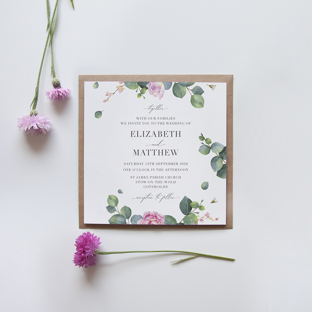 'Eucalyptus Blush' Square Invite Sample