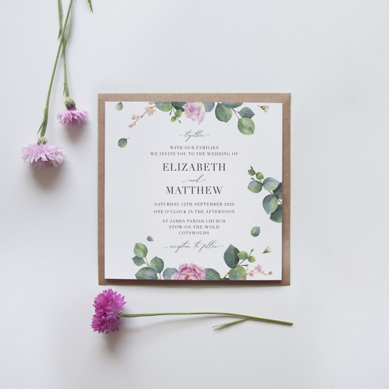 'Eucalyptus Blush' Square Invite