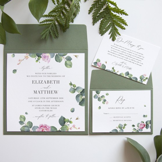 'Eucalyptus Blush' Square Invite