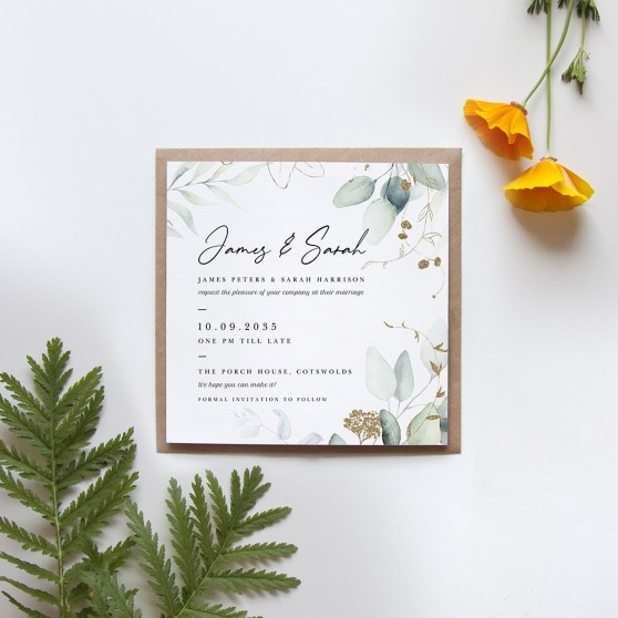 'Green & Gold Eucalyptus EG10' Square Invitation Sample