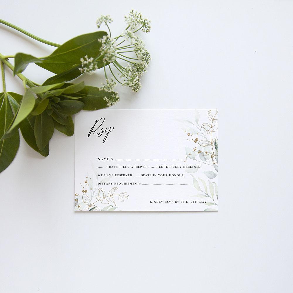 'Green & Gold Eucalyptus EG10' Square Invitation