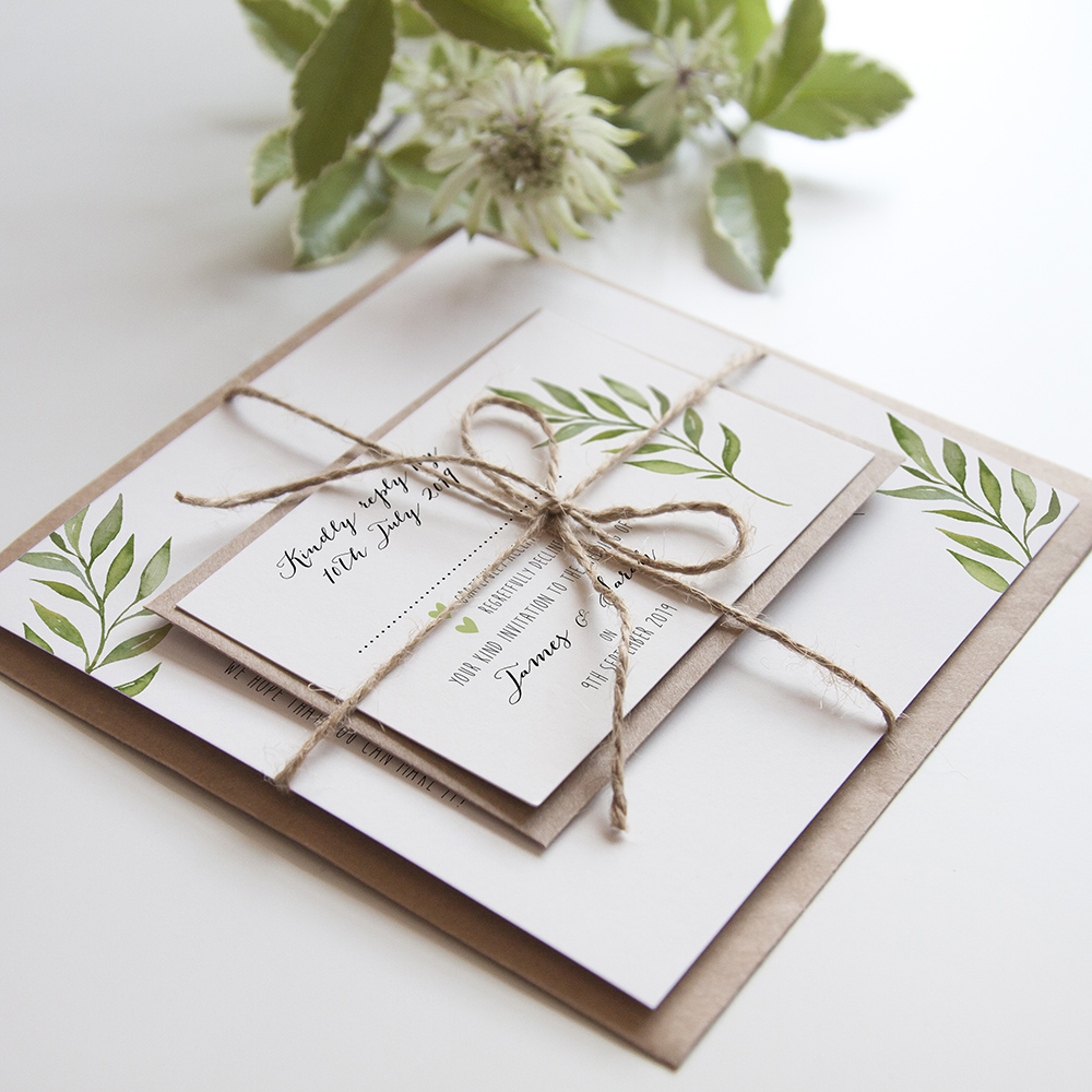 'Green Leaf' Square Invite
