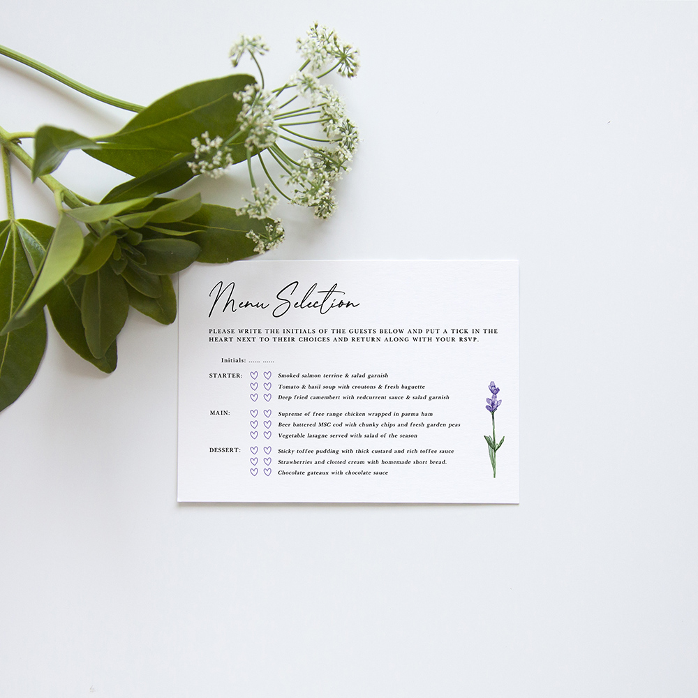 'Lavender' Square Invitation