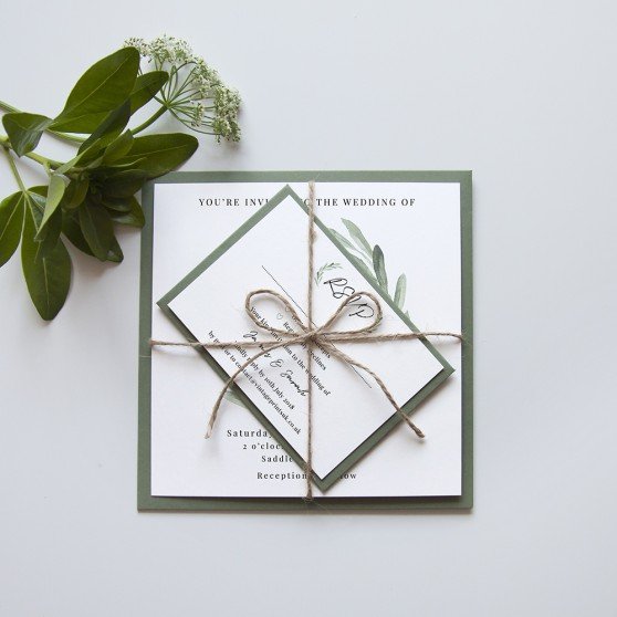 'Olive' Square Invite Sample