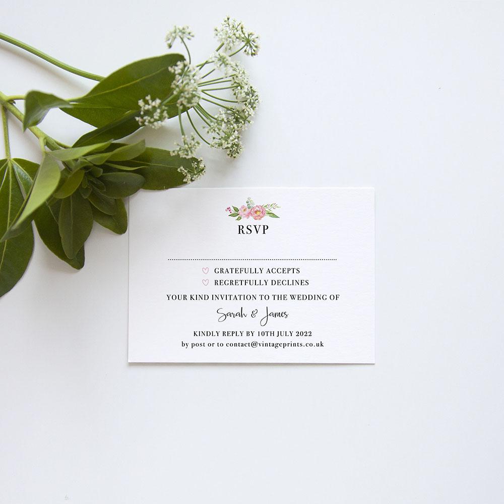 'Peony' Square Invite Sample