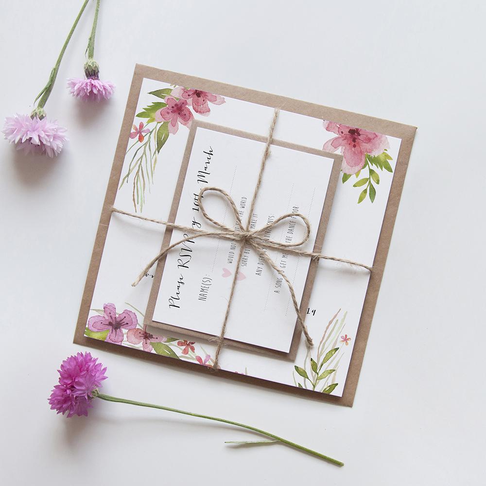 'Pretty in Pink' Square Invite