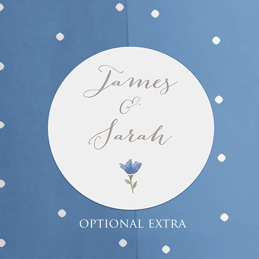 'Blue Floral Watercolour' Pocketfold Wedding Invitation Sample