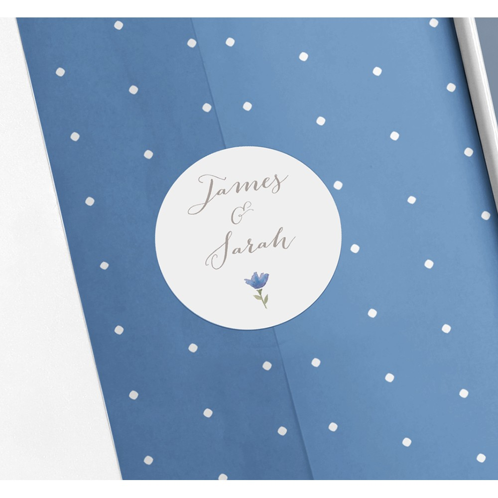Pack of 'Blue Floral Watercolour' Stickers