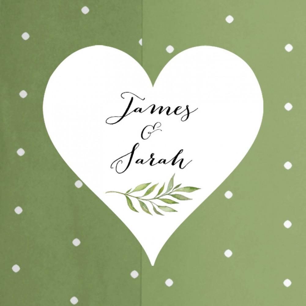 'Green Leaf' Standard Wedding Invitation Sample