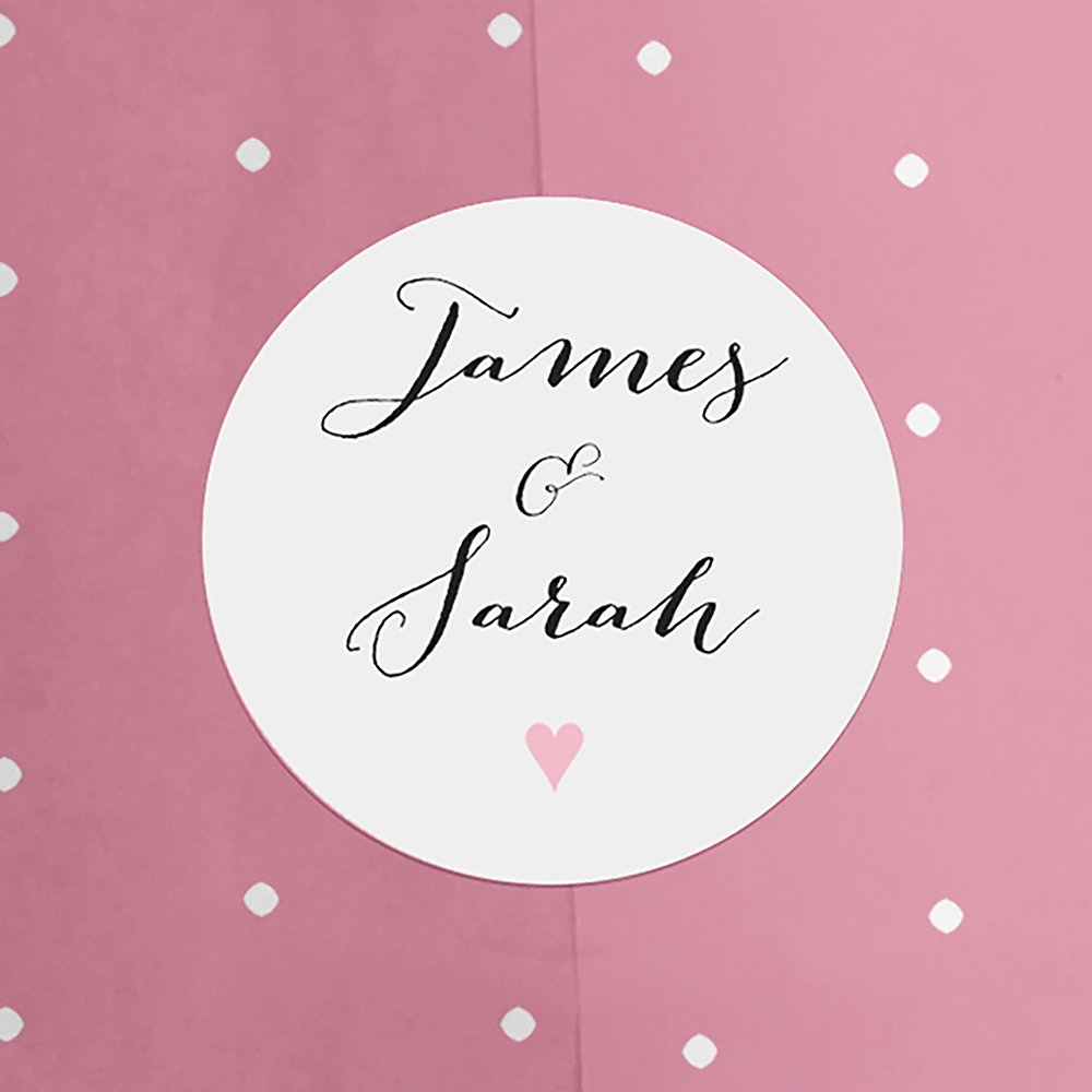 'Pink Flag Bunting' Hole-punched Save the Date