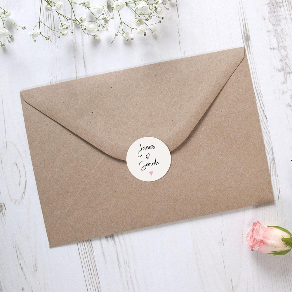 'Pink Heart' Printed Envelope Liner with Envelope