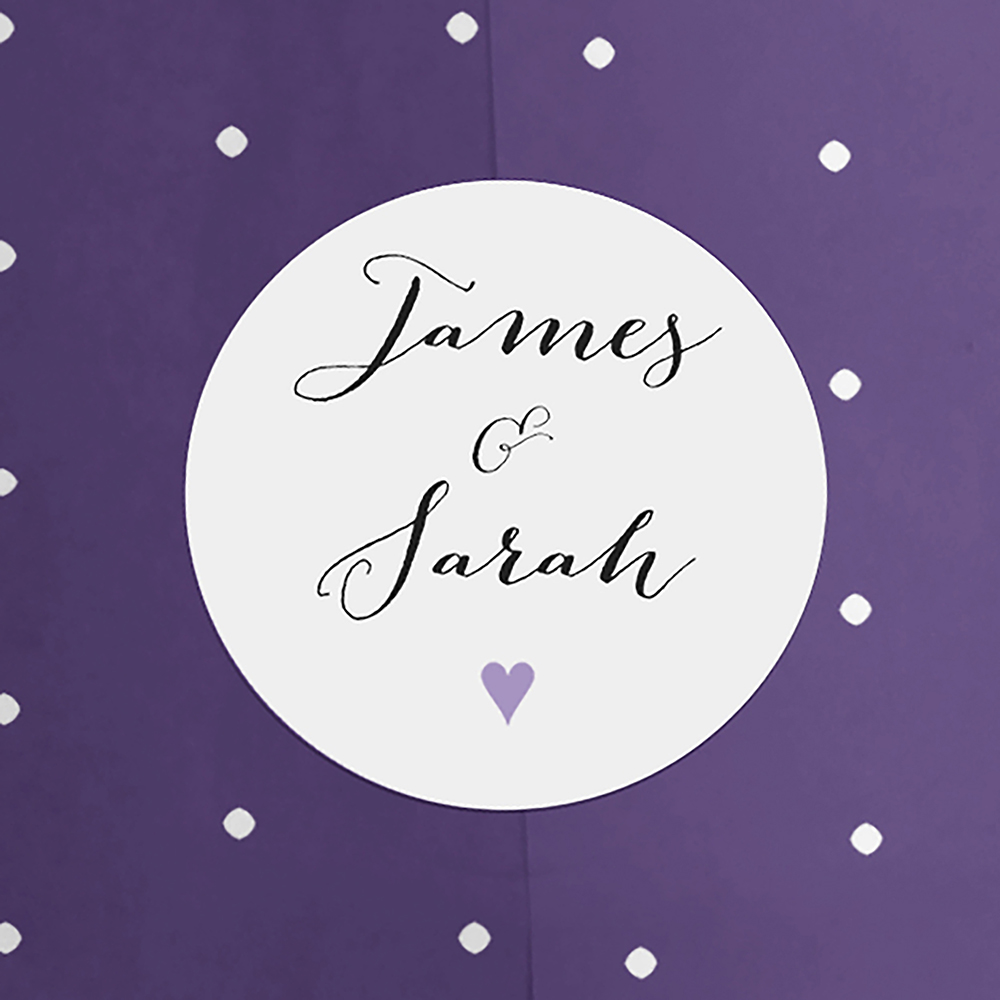 'Purple Flag Bunting' Hole-punched Invite Sample