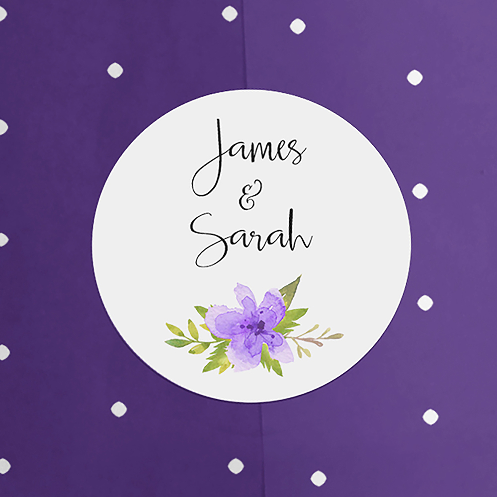 'Purple Multi Floral Watercolour' Hole-punched Invite Sample