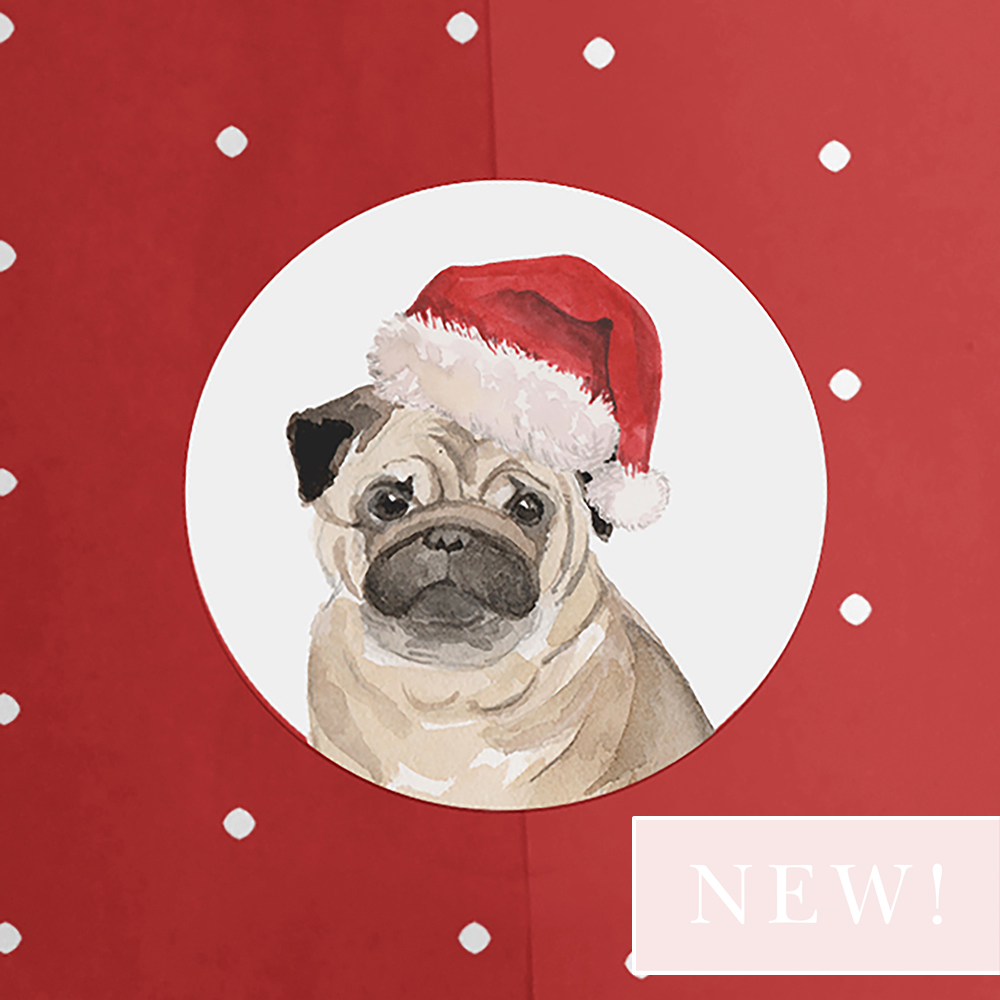 Pack of 'Pug Santa Hat' Stickers